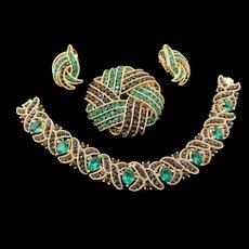 Crown Trifari Cavalcade Emerald Green and Black Channel Set Rhinestone Bracelet, Brooch and Earrings