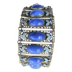 Czech Neiger Cobalt Blue Brass, Glass and Enamel Wide Bracelet
