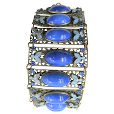 Czech Neiger Cobalt Blue Brass, Glass and Enamel Wide Bracelet