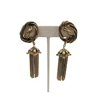 Signed Schiaparelli Gold Plated Twisted Dangle Earrings