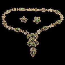 Coro Watermelon Rivoli Rhinestone Necklace and Clip Earring Set