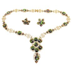 Coro Watermelon Rivoli Rhinestone Necklace and Clip Earring Set
