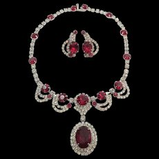 Kramer of New York Crystal and Ruby Red Rhinestone Necklace and Earrings