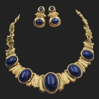Trifari Faux Lapis Cabochon Necklace and Pierced Earring Set