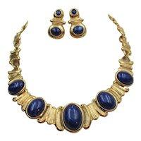 Trifari Faux Lapis Cabochon Necklace and Pierced Earring Set