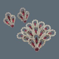 Vintage Kramer Red and Crystal Rhinestone Fan Brooch and Earrings