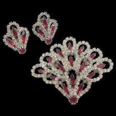 Vintage Kramer Red and Crystal Rhinestone Fan Brooch and Earrings