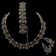 Kramer of New York Black Net Crystal Rhinestone Necklace, Bracelet & Earring Parure Set