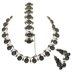 Kramer of New York Black Net Crystal Rhinestone Necklace, Bracelet & Earring Parure Set