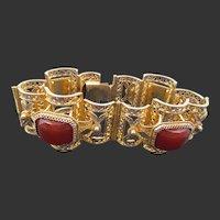 Chinese Export 800 Vermeil Carnelian Filigree Bracelet