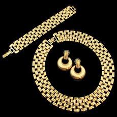 Mid-Century Monet Gold Tone Necklace, Bracelet and Earring Parure Set