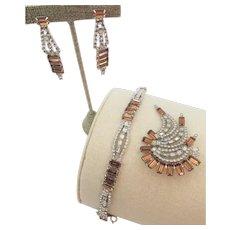 Kramer of New York Topaz Baguette and Crystal Rhinestone Bracelet, Brooch and Earring Set