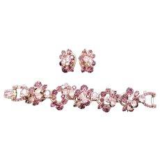 DeLizza & Elster Juliana Five Link Purple and Orchid Rhinestone Bracelet and Earrings