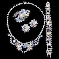 Weiss Light Blue and Crystal Rhinestone Necklace, Bracelet, Brooch and Earring Parure