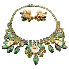 Weiss Spectacular Green Rhinestone and Faux Pearl Necklace and Earrings