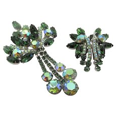 "DeLizza & Elster Juliana 4"" Green and Aurora Borealis Drop Brooch and Earrings"