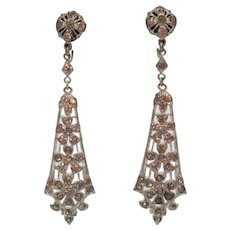 1920s Art Deco Paste Drop Screwback Earrings