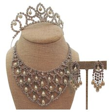 Kramer of New York Pearl and Crystal Rhinestone Bib Necklace, Drop Earrings and Tiara