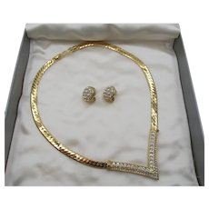Christian Dior V Crystal Rhinestone Serpentine  Goldtone Necklace and Earring Set