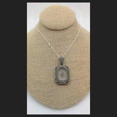 Art Deco Sterling Silver Camphor Glass Marcasite Pendant Necklace