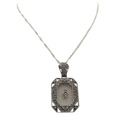 Art Deco Sterling Silver Camphor Glass Marcasite Pendant Necklace