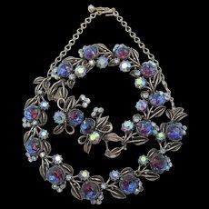 Florenza Bi-color Blue Purple  Rhinestone Necklace, Bracelet and Earring Set