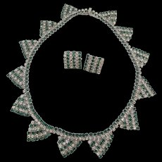 Art Deco Style Kramer Green and Crystal Rhinestone Necklace and Earrings