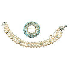 Ciner Faux Pearl and Turquoise Bracelet and Brooch Set