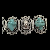 Vintage Egyptian Revival Turquoise Scarab and Pharaoh Silver-Tone Bracelet