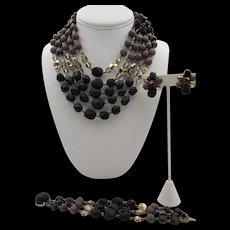 Vintage Multi-Strand Glass Beaded Necklace, Bracelet and Earring Set