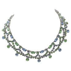 Kramer Of New York Pale Blue and Green Rhinestone Necklace