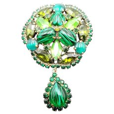 Weiss Flawed Emerald Rhinestone Drop Brooch