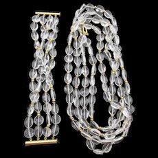 """Vintage Rock Crystal Sterling Rope 66"""" Necklace and Four Strand Bracelet Set"""