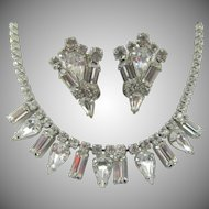 LAST CHANCE:  Weiss Crystal Rhinestone Necklace and Matching Earring Set