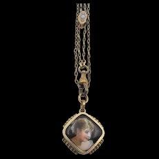 Victorian Gold Filled Watch Chain Opal Slide Portrait Fob Pendant