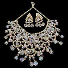 Vintage Kramer Crystal AB Rhinestone Bib Necklace and Drop Earrings