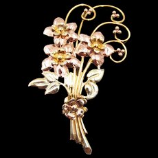 1940s Gold Over Sterling Floral Spray Four Inch Brooch