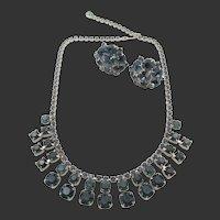 Albert Weiss Sapphire Rhinestone Necklace and Earrings in Original Box