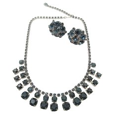 Albert Weiss Sapphire Rhinestone Necklace and Earrings in Original Box