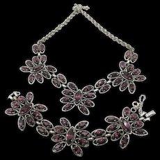 Signed Schiaparelli Silver Plated Purple Rhinestone Necklace and Bracelet Set