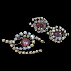 Vintage Dragon's Breath Rhinestone and Faux Pearl Horseshoe Brooch and Earring Set
