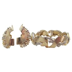 Boucher Gold Plated Ribbed Scalloped Diamante Crystal Rhinestone Bracelet and Earring Set