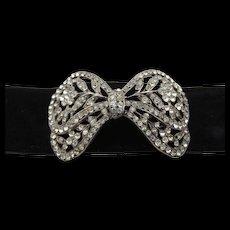 French Paste Rhinestone Bow Velvet Choker Necklace