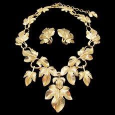 Kunio Matsumoto for Trifari Grape Leaf Necklace and Earring Set