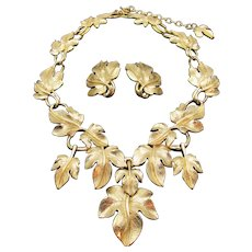 Kunio Matsumoto for Trifari Grape Leaf Necklace and Earring Set