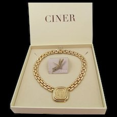 Vintage Ciner Gold Plated Roman Coin Necklace in Original Box