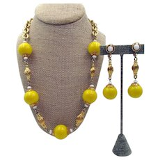 Bright Yellow 1980s Signed Hobe Necklace and Clip Earrings