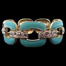 Vintage Turquoise Enamel and Rhinestone Link Bracelet