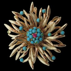 Vintage Signed Capri Gold-tone Turquoise Cabochon Brooch/Pin