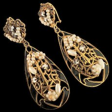 French Gold Plated Enamel and Pearl Drop Earrings